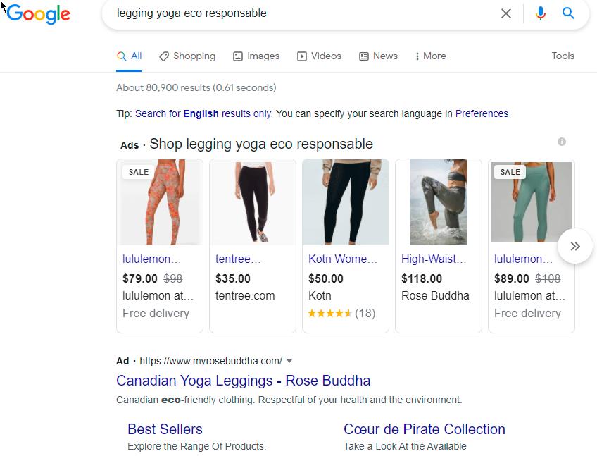 Search Ads, yoga leggings, eco-responsable, SEO